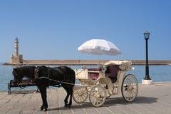 гавань chania barouche стоковая фотография rf