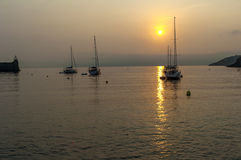 Гавань Collioure восхода солнца Стоковое фото RF