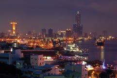 Гавань Kaohsiung Тайваня на ноче Стоковые Фотографии RF
