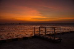 Гавань Karimun Jawa захода солнца Стоковая Фотография RF