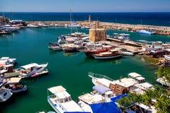 Гавань Kyrenia, взгляд высокого угла Кипр стоковая фотография rf