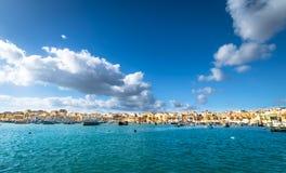 Гавань Marsaxlokk в Мальте Стоковые Фотографии RF
