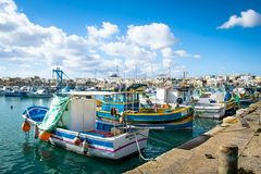 Гавань Marsaxlokk в Мальте Стоковое Фото