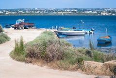 Гавань Mozia, в соленых болотах marsala стоковые фотографии rf
