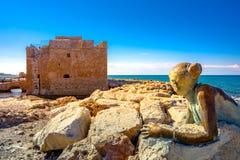 Гавань Paphos с замком, Кипра стоковое изображение rf