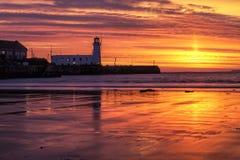 Гавань Scarborough на восходе солнца Стоковые Изображения RF