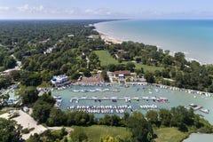 Гавань Wilmette и бечевник Lake Michigan Стоковое фото RF