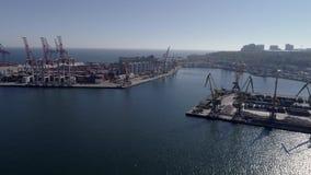 Гаван индустрия, взгляд трутня торгуя гавани моря с контейнерами и краны с поднимающейся укосиной на морском побережье против гол сток-видео