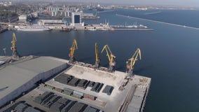 Гаван индустрия во время здания с конструкционными материалами и кранами с поднимающейся укосиной на набережной Чёрного моря, взг акции видеоматериалы