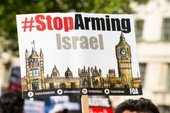 Газа: Остановите митинг протеста бойни в Уайтхолле, Лондоне, Великобритании стоковые изображения rf