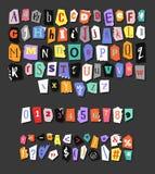 газета алфавита цветастая Ручной работы анонимный комплект Письма, номера и знаки препинания вектора Стоковое Изображение