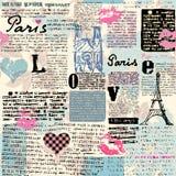 Газета Париж с поцелуи бесплатная иллюстрация