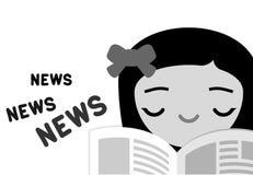 Газета чтения девушки Стоковые Фотографии RF