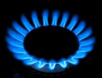 газовая плита голубых пламен Стоковое Изображение