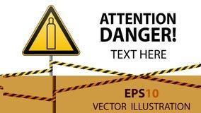 Газовый баллон Внимание опасно больше моего знака портфолио подписывает предупреждение Технология безопасности Триангулярный знак бесплатная иллюстрация