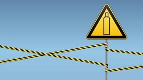 Газовый баллон Внимание опасно больше моего знака портфолио подписывает предупреждение Технология безопасности Триангулярный знак иллюстрация вектора