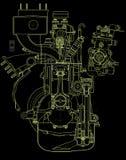 газолин двигателя чертежа иллюстрация вектора