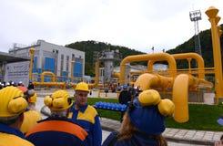 Газохранилище и трубопровод в Ihtiman, ot октябре Болгарии 13, 2015 стоковое фото