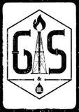 Газ и масло Черно-белый ретро типографский плакат индустрии grunge также вектор иллюстрации притяжки corel Стоковые Изображения