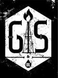 Газ и масло Черно-белый ретро типографский плакат индустрии grunge также вектор иллюстрации притяжки corel Стоковые Изображения RF