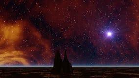 Газ космоса и сиротливый утес сток-видео