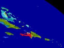 Гаити с флагом на земле Стоковые Изображения