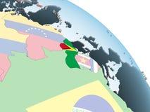 Гайана с флагом на глобусе иллюстрация вектора