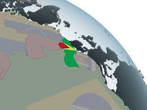 Гайана с флагом на глобусе иллюстрация штока