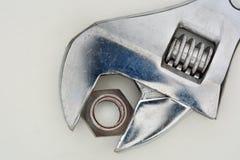 Гайка и гаечный ключ Стоковое Фото