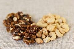 Гайки анакардии и грецкие орехи в форме сердец Стоковое фото RF