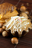 гайки замороженности шоколада торта Стоковое Фото