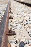 Гайки - и - болты железнодорожного взгляд сверху Стоковое Фото