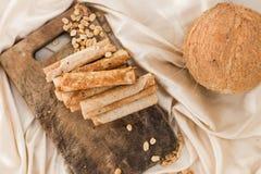 Гайки и waffles кокоса Стоковое Изображение RF