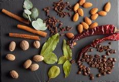 Гайки, специи и еда на деревянном подносе Стоковые Изображения RF