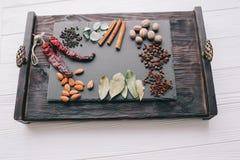 Гайки, специи и еда Стоковая Фотография