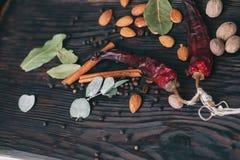 Гайки, специи и еда Стоковое Изображение