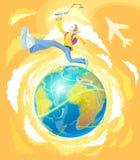 Гай - активный путешественник, путешествует по всему миру Стоковые Изображения RF