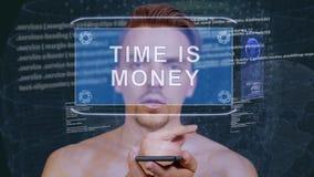 Гай взаимодействует время hologram HUD деньги сток-видео