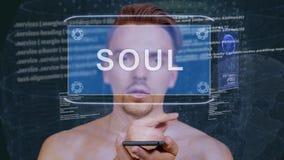 Гай взаимодействует душа hologram HUD акции видеоматериалы
