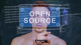Гай взаимодействует открытый источник hologram HUD акции видеоматериалы