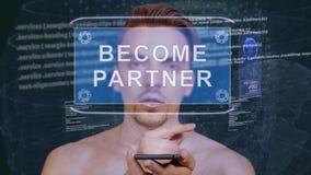 Гай взаимодействует партнер HUD стали hologram, который сток-видео