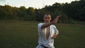 Гай в кимоно, практикующий врач карате, тренирует на Glade в утре парка города Rano акции видеоматериалы