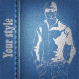 Гай джинсовой ткани иллюстрация вектора