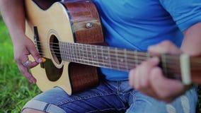 Гай и девушка сидят в парке на траве и игре и поют на гитаре Любя пары В конце поцелуя видеоматериал