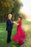 Гай и девушка нежно обняли один другого стоя в луге в парке Стоковое Фото