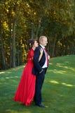 Гай и девушка нежно обняли один другого стоя в луге в парке Стоковая Фотография