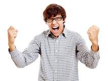 Гай празднуя выигрыш Стоковая Фотография RF