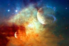 Галактика и планета в космическом пространстве Элементы этого изображения поставленные NASA стоковое фото rf
