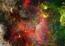 Галактика и планета в космическом пространстве Элементы этого изображения поставленные NASA стоковые фото