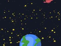 Галактика космоса мультфильма со звездами и анимацией планеты бесплатная иллюстрация